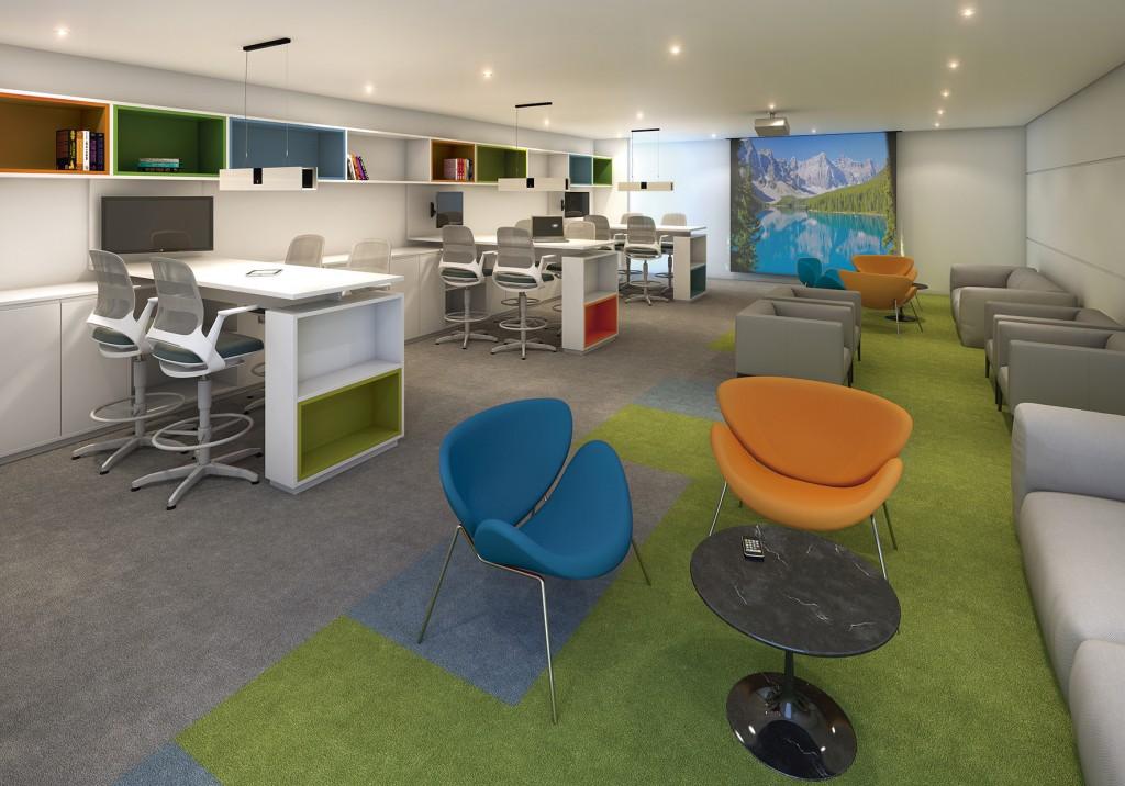 Mobiliário planejado, poltronas, sofás e cadeiras da RS Design projetados para criar um clima de colaboração entre as equipes.