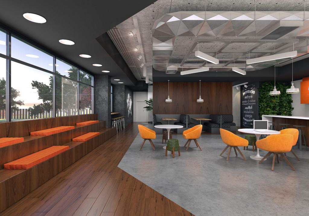 Área para workshop e convivência com mobiliário da RS Design.
