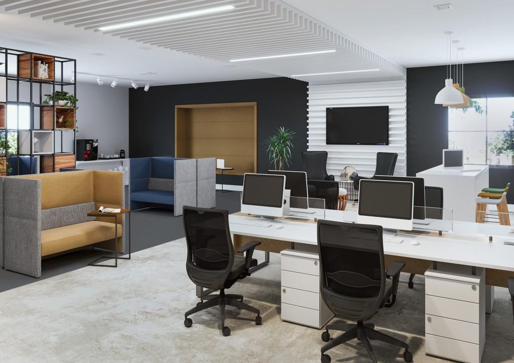 Mesmo numa área mais agitada, podem ser colocados sofás acústicos (sofás booth) para alguma atividade mais concentrada. Crédito: Divulgação RS Design