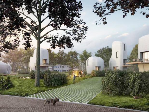 Este será o visual do conjunto habitacional completamente impresso em concreto 3D na Holanda. Crédito: Reprodução Van Wijnen