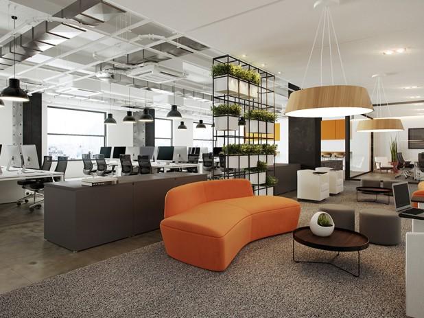 Escritório com área dedicada à atividade colaborativa integrando estações de trabalho da linha Smart com espaço mais informal e mobiliário exclusivo da RS Design. Crédito: Divulgação RS Design