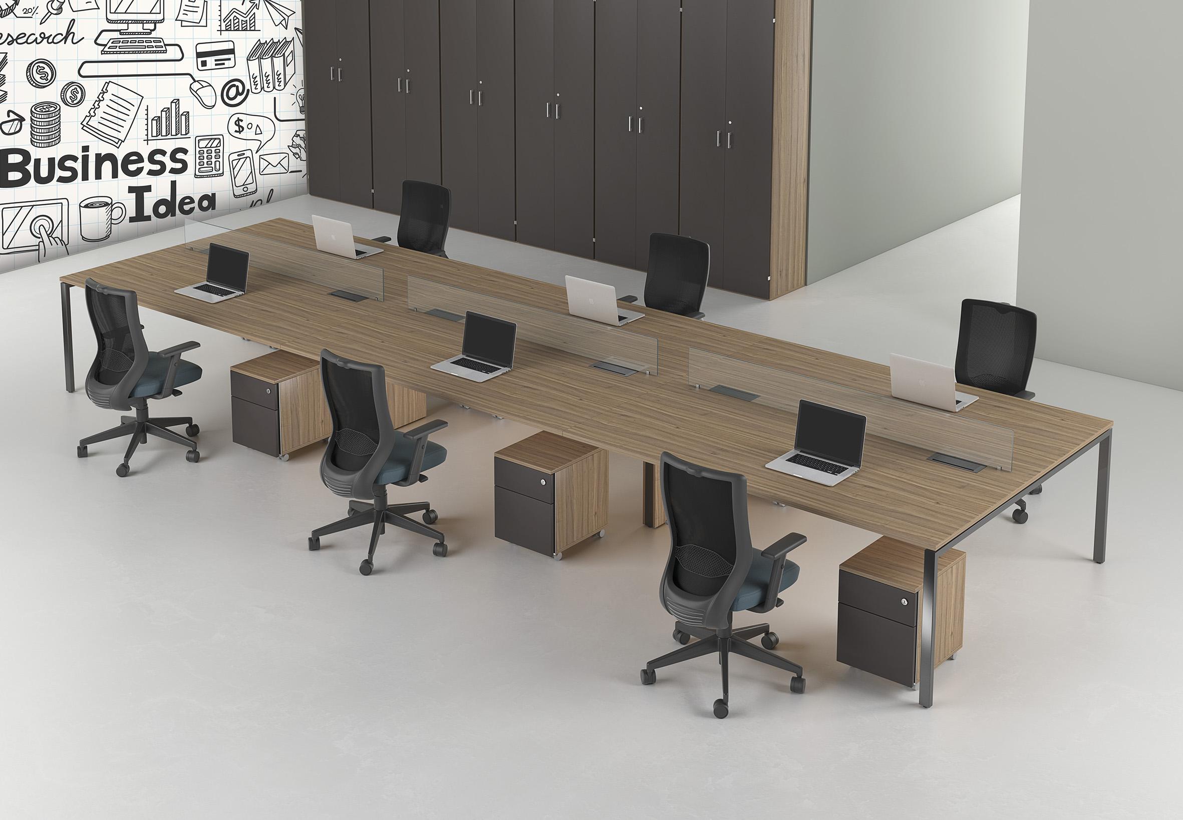 Espaço colaborativo com Estação de Trabalho Smart da RS Design. Investimento na interação da equipe.