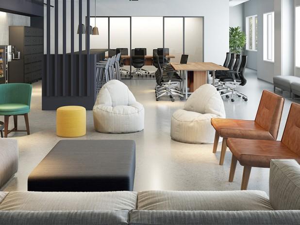 Projeto com mobiliário RS Design oferecendo diferentes opções para o colaborador se acomodar e se movimentar. Crédito: Divulgação RS Design
