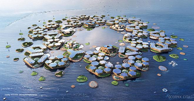 Cidades flutuantes adaptáveis e sustentáveis já despertam a atenção da ONU. Crédito: OCEANIX / BIG-Bjarke Ingels Group