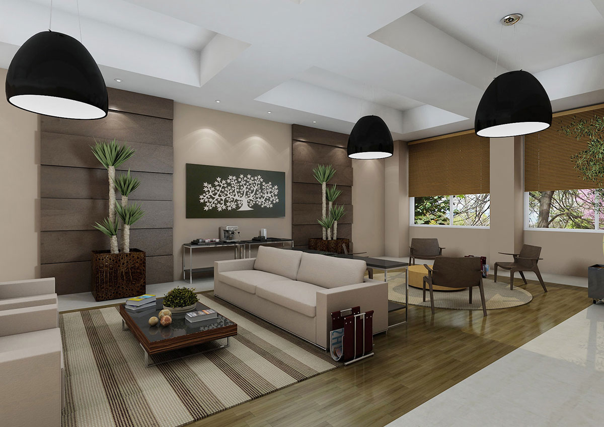 Recepção com ambientes delimitados pelos mobiliários e tapetes, criando espaços de espera ou para rápidos bate-papos. Crédito: imagem e mobiliário RS Design.