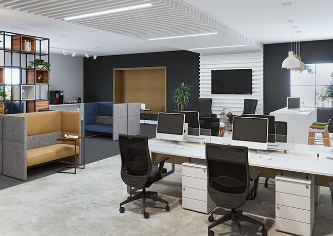 Nesse espaço planejado pela RS Design, os sofás com encosto alto auxiliam no movimento e na concentração de quem busca um pouco mais de privacidade no ambiente de trabalho.