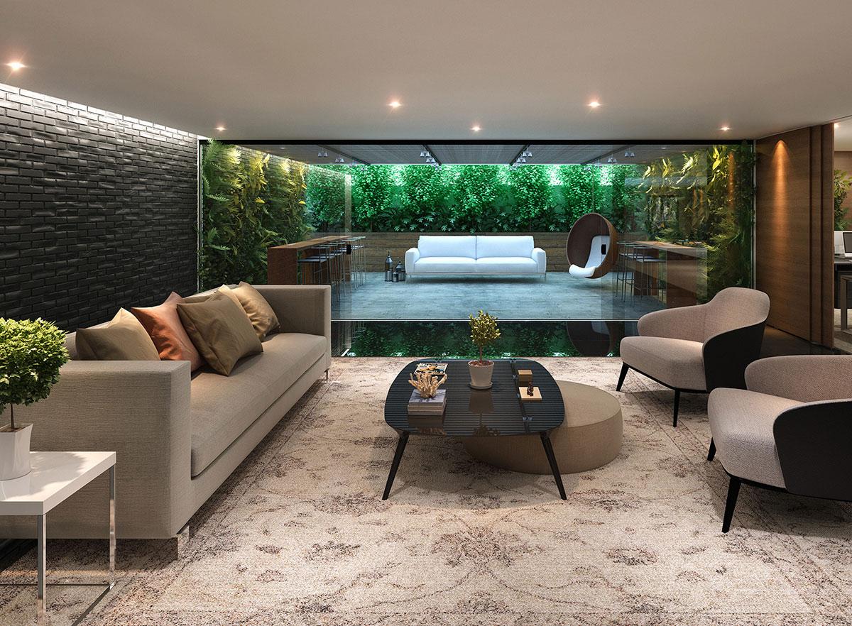 Uso de mobiliário confortável e ambiente acolhedor para as pessoas no momento de espera. Crédito: RS Design.