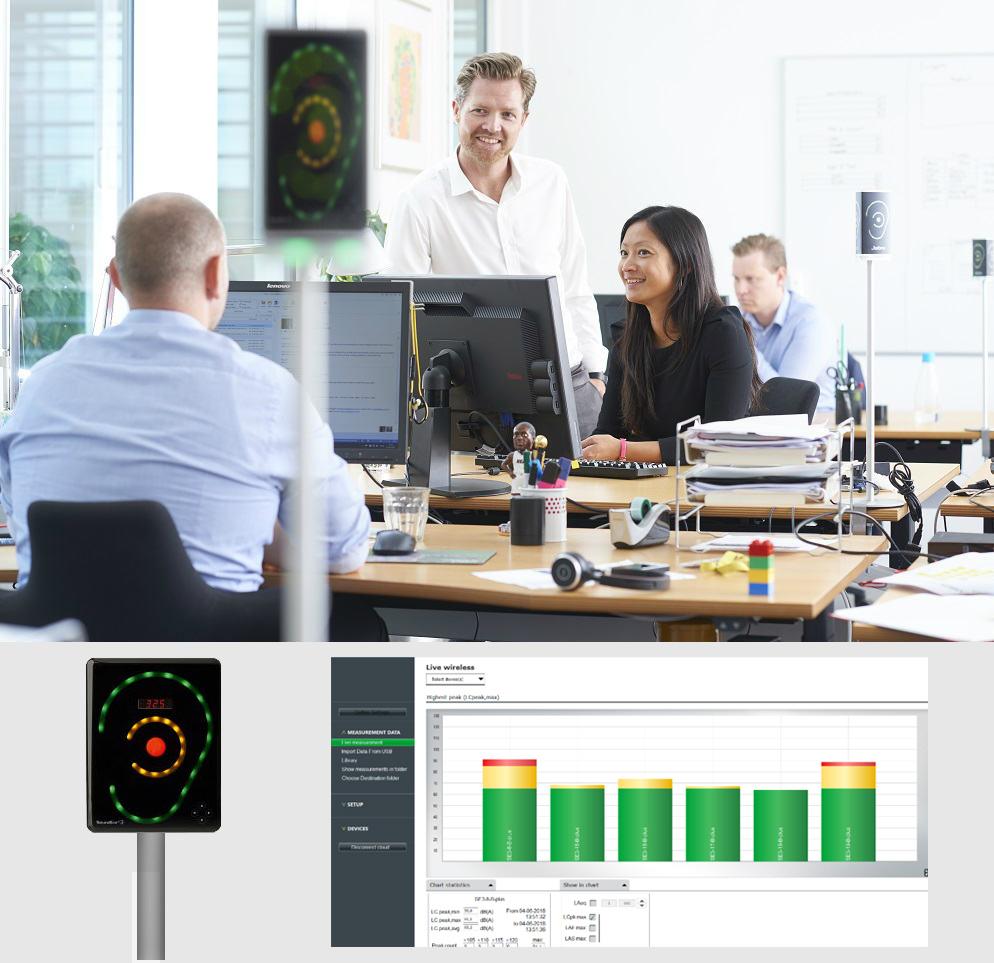 Dispositivo SoundEar para ser acoplado nas mesas de escritório e medir o ruído ambiente, mostrando se está adequado ou não. Além disso, permite a produção de relatórios para se avaliar o conforto sonoro em determinados espaços.