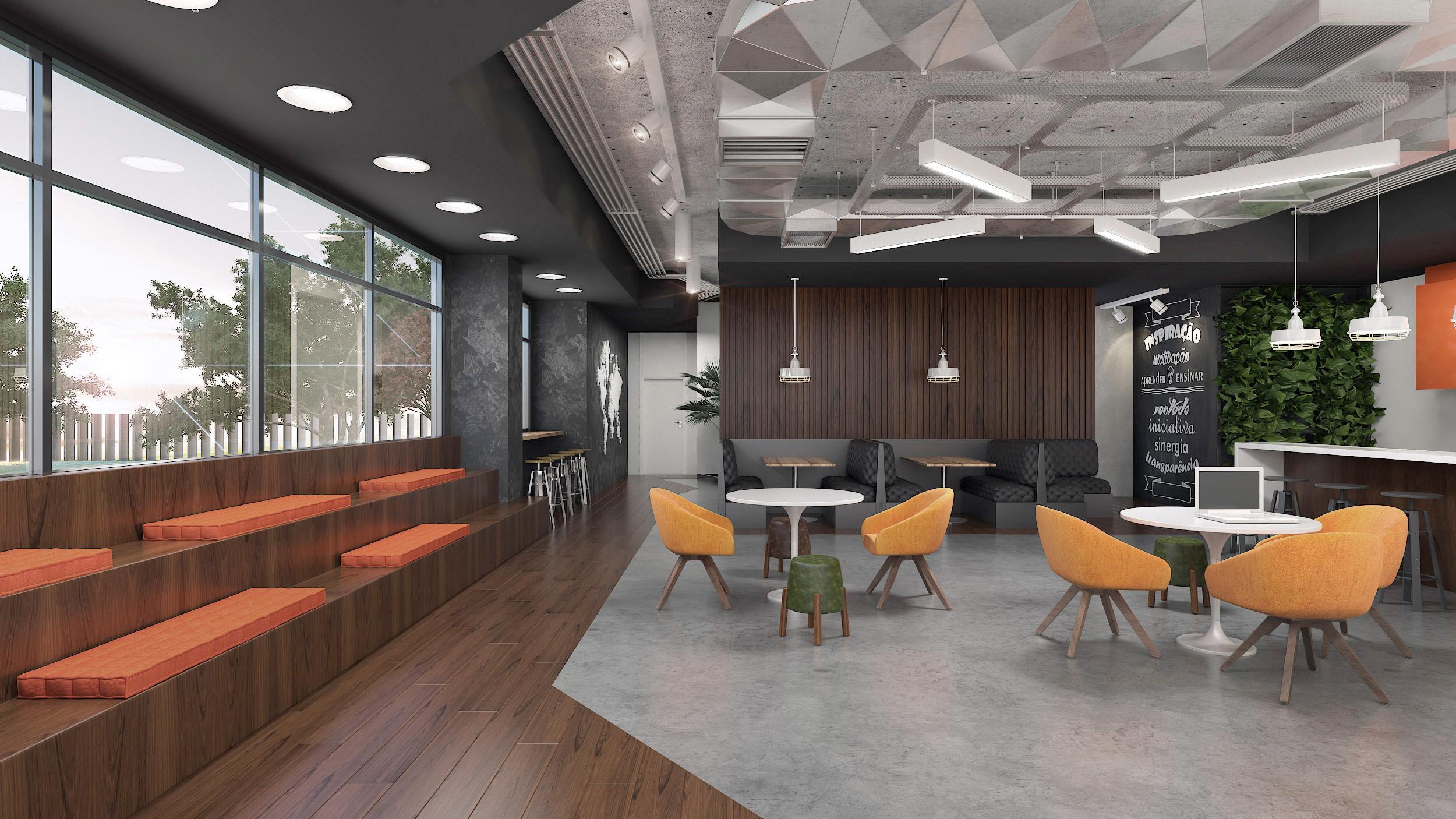 Escritório com mobiliário e arquibancada planejada da RS Design em uma área que é, ao mesmo tempo, de descompressão, convivência e treinamento informal. Crédito RS Design.