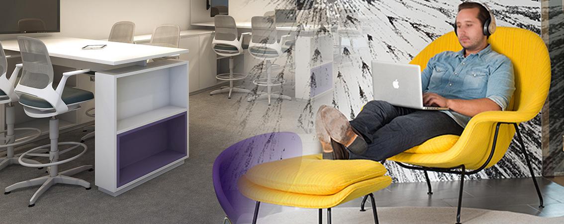 Mobiliário da RS Design para espaços mais informais e estimulantes de criatividade individual ou coletiva.