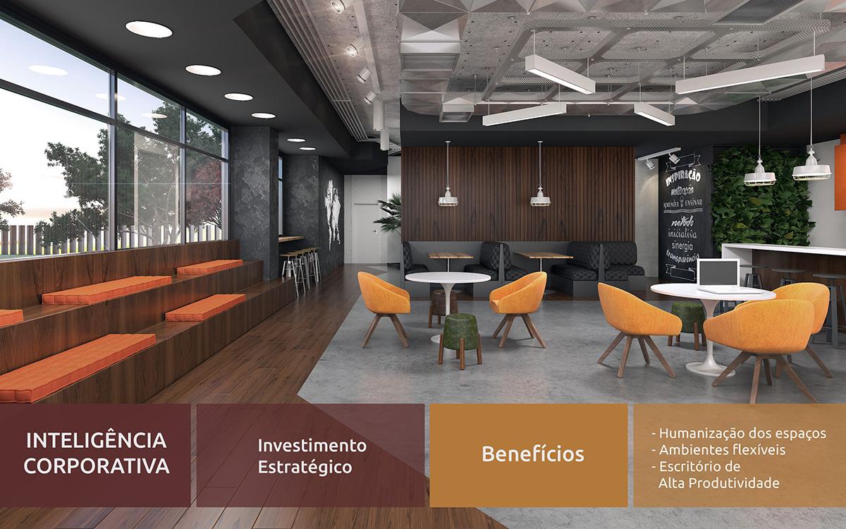 Espaço em escritório com conceito de flexibilidade e múltiplo uso com mobiliário da RS Design.