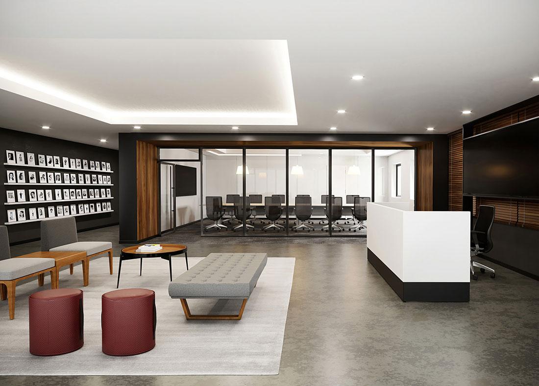 Ambiente com mobiliário da RS Design, incluindo banco, poltronas, balcão, pufes e mesa.