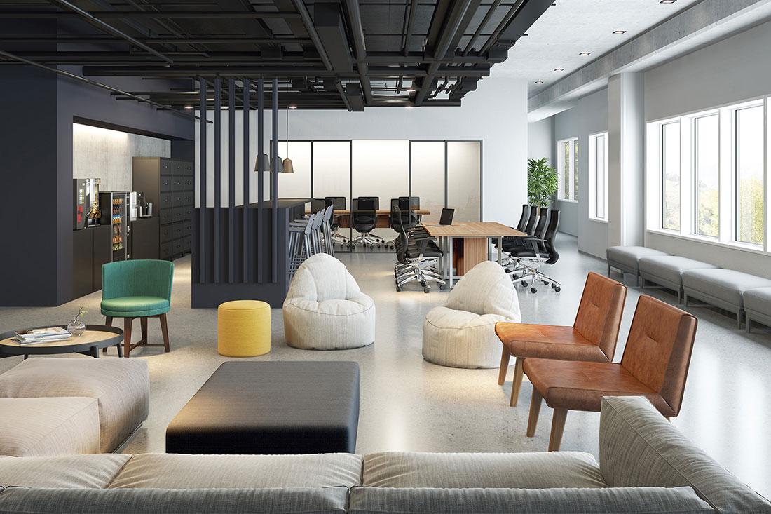 Nesta imagem com mobiliário da RS Design, podemos observar uma sala de reunião mais tradicional ao fundo e na frente outros tipos de espaços para reuniões mais informais, estimulando a comunicação entre as pessoas.
