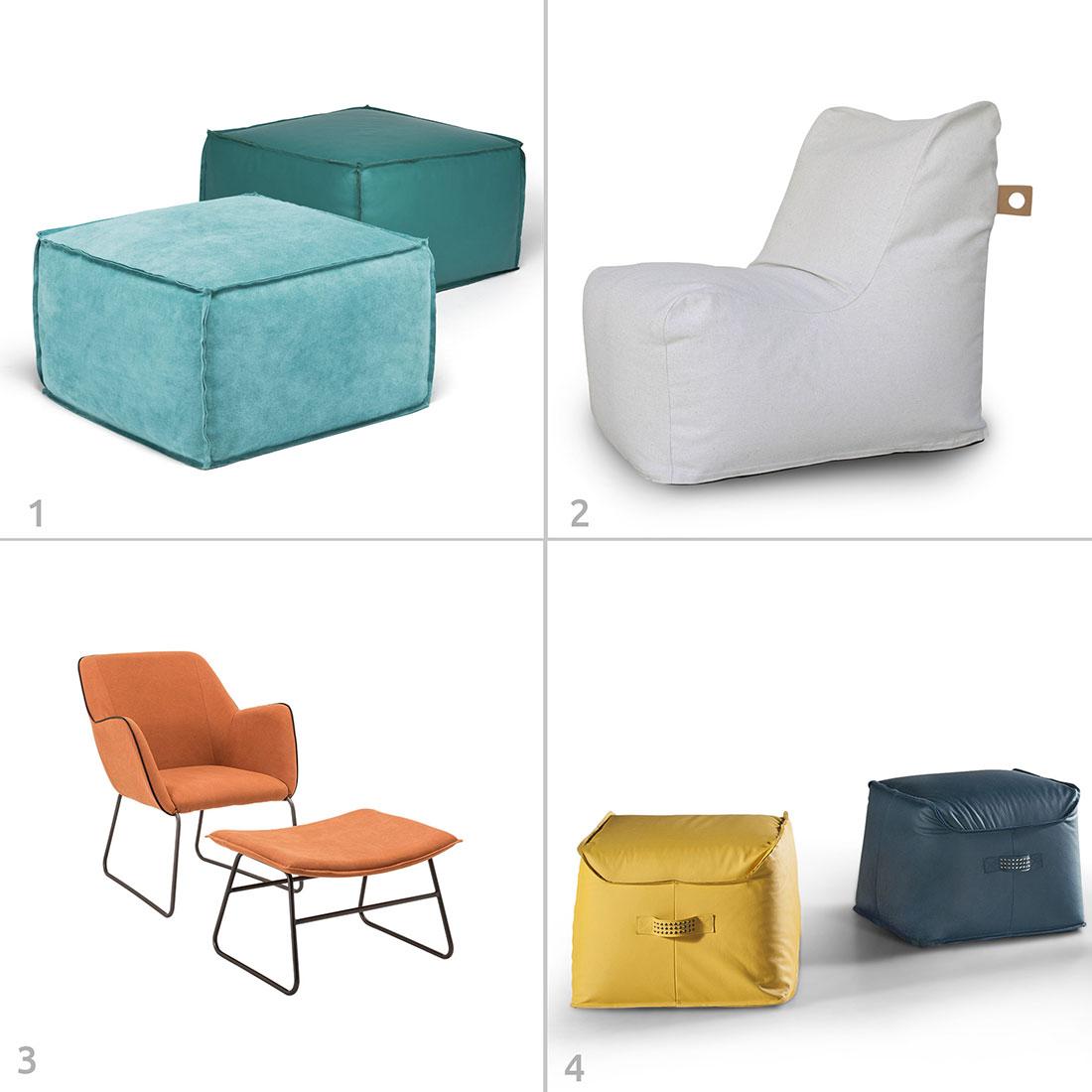 Alguns tipos de mobiliário mais informal da RS Design: 1. Pufe Nuova, 2. Pufe Palo Alto, 3. Poltrona Alada, Pufe Foggia