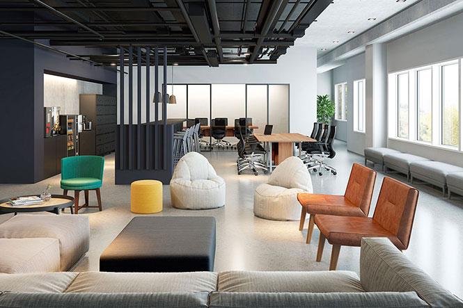 Ambiente aberto para atividade colaborativa e sala de reuniões ao fundo com Divisórias de vidro. Escritório multispace com mobiliário da RS Design.