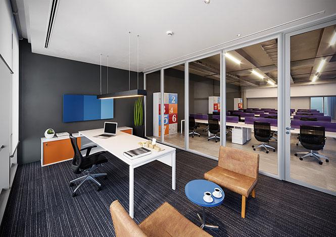 Mobiliário RS Design para sala executiva com composição de cores nas portas e o restante em branco. Um visual moderno e com dinâmica jovem para empresas que precisam estimular a criatividade e o dinamismo nas equipes.