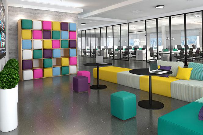 Mobiliário da RS Designpara área de reunião informal, com estímulos para o compartilhamento de ideias.