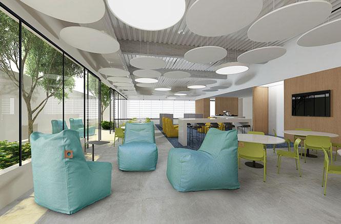 Ambiente com forros atenuantes de ruídos de formatos circulares, inserindo elementos de design no projeto. Mobiliário da RS Design.