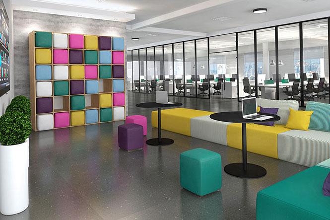 Área para atividades colaborativas e reuniões informais em empresas com conceito de modernidade, dinamismo e inovação. Mobiliário da RS Design.