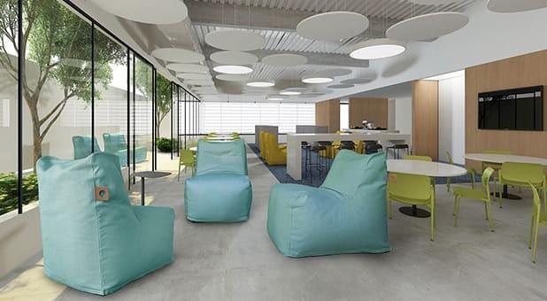 Com mobiliário da RS Design, ambiente corporativo com múltiplos espaços está adequado para a retomada, visto que é capaz de auxiliar os times a manter o distanciamento social