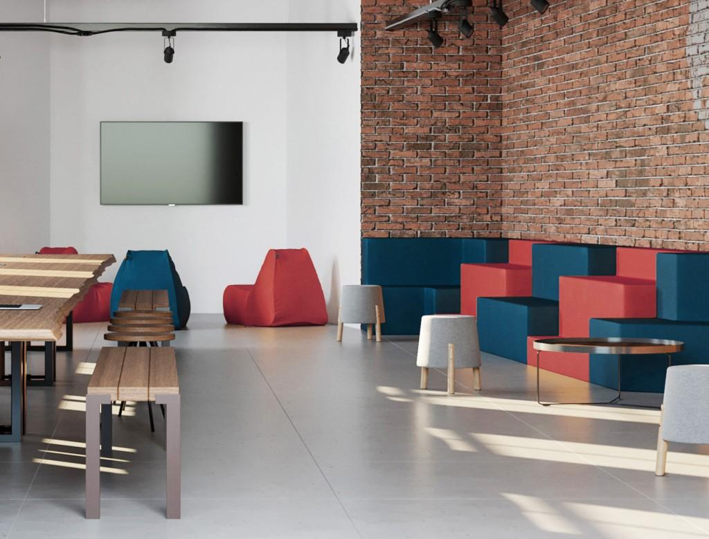 Escritório com espaços para a pessoa escolher onde quer trabalhar, bastando levar o seu notebook.